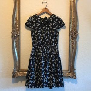 Adorable Fit and Flare Bird print dress